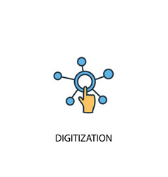 digitization concept 2 colored line icon simple vector image