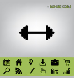 Dumbbell weights sign black icon at gray vector