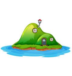 Enchanted fairy house on island vector