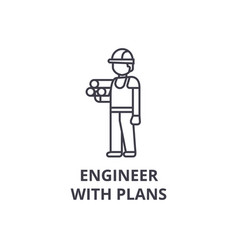 engineer with plans line icon sign vector image