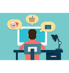Flat concept of process e-marketing and e-commerce vector