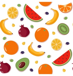 Fruits Seamless Pattern with Watermelon Orange vector image