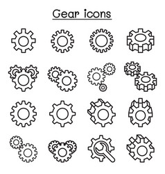 gear repair icon set in thin line style vector image