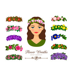 Girls flower wreaths vector