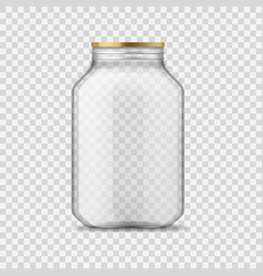 Glass jar empty clear glass container with vector