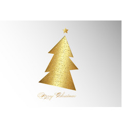 Gold glitter christmas tree and golden star vector