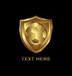 gold shield soccer vector image