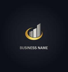 Graph economy business progress gold logo vector