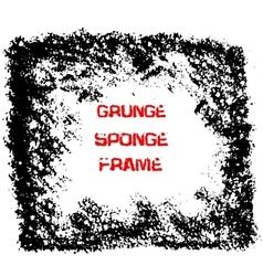 Grunge black sponge frame Textured vector