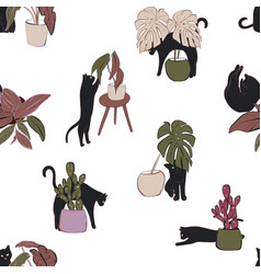 hand-drawn cat and house plants pattern seamless vector image