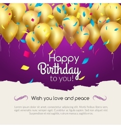 Happy birthday card with golden balloons vector