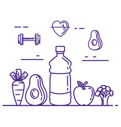 healthy and fitness lifestyle set icons vector image