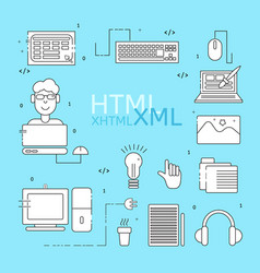 Html coder icons set vector