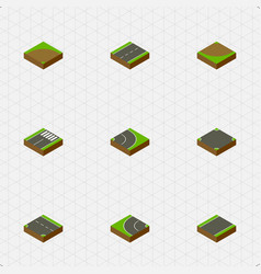 Isometric way set of sand downward turn vector