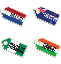 label Made in Netherlands New Zealand Niger Nigeri vector image