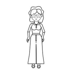 Line nice woman with glasses blouse and pants vector