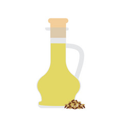 linseed organic oil in glass bottle vector image