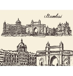 Mumbai skyline vintage sketch vector