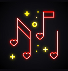 neon music note with heart sign glowing karaoke vector image