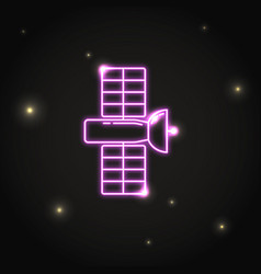 neon space satellite icon in thin line style vector image