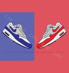 Nike air max 1 og blue og red vector