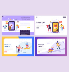 Online shopping sale commerce landing page set vector