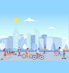 people with bikecycles hoverboards babies vector image