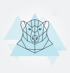 polar bear head geometric lines silhouette vector image