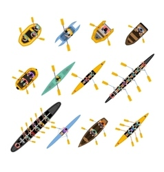Rafting Kayaking Top View Set vector