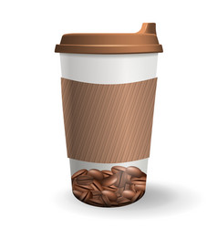 realistic to go and takeaway paper cup with vector image