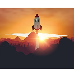 Rocketship on mountain sunset background vector image