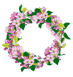 Round frame with apple blossoms vector