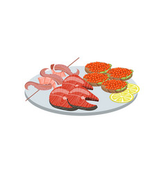 seafood on plate cartoon vector image