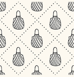 Seamless pattern with reusable mesh bags vector