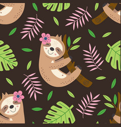 Seamless pattern with sloth hanging on a branch vector