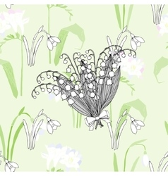 Seamless pattern with snowdrops vector