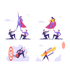 set businesspeople leadership and goals vector image