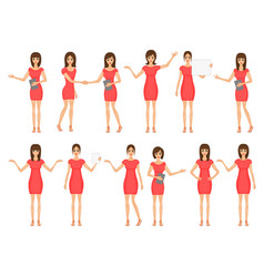 set of girls in dresses and sandals vector image