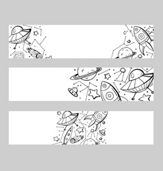 set of horizontal banners with contour child vector image