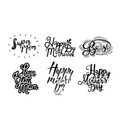 set of inscription happy mother s day love you vector image