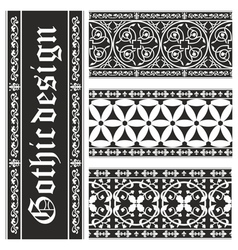 Set of seamless gothic floral ornaments vector