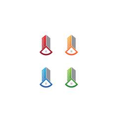 Set real estate apartment logo design template vector