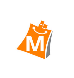 shopping online initial m vector image