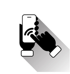 silhouette black hand touching smart phone screen vector image