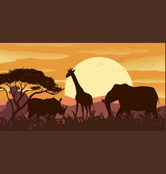 silhouette scene with wild animals at sunset vector image
