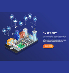 smart city technology with smart service in vector image
