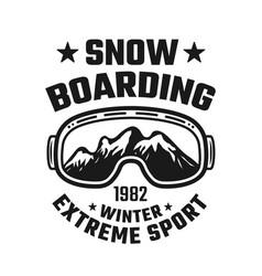 Snowboarding emblem with ski glasses vector