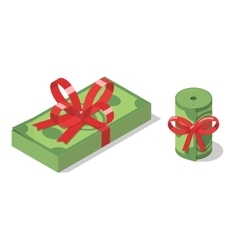 Stack and roll banknotes tied with ribbon bow vector