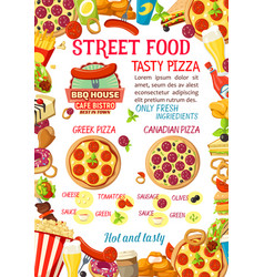 Street food burgers pizza menu poster vector