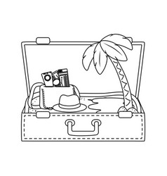 Suitcase cartoon summer and travel in black and vector